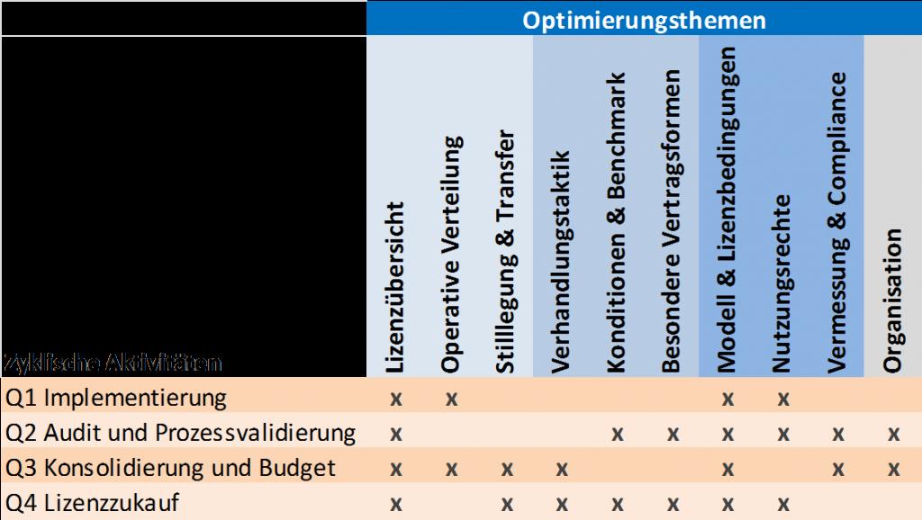 Optimierungsmatrix nach Doctor-License